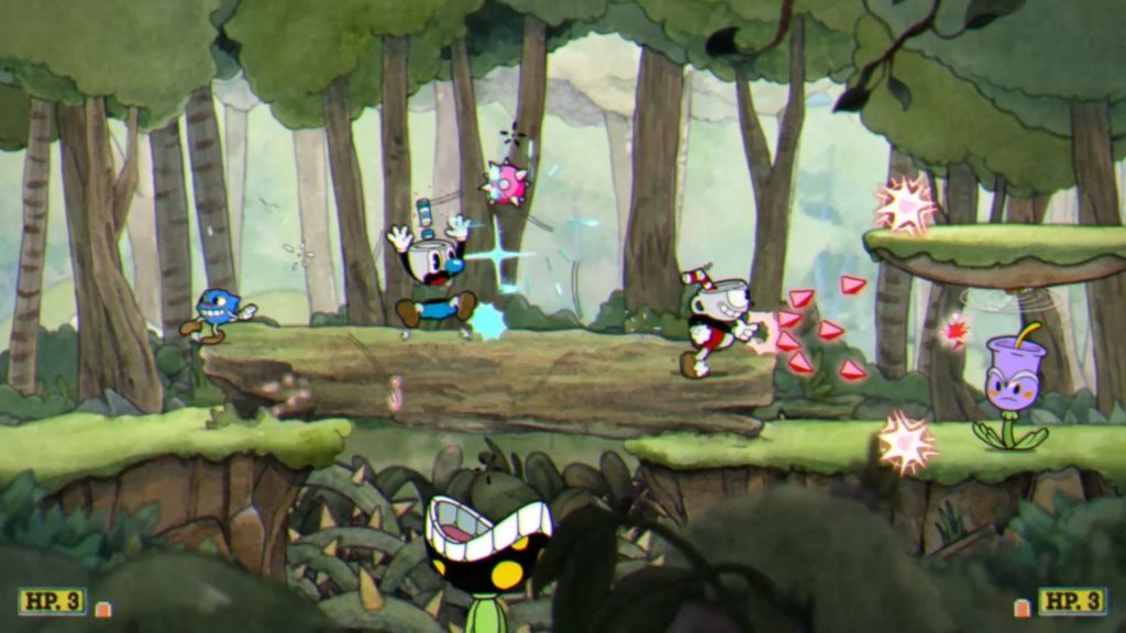 cuphead being played in coop
