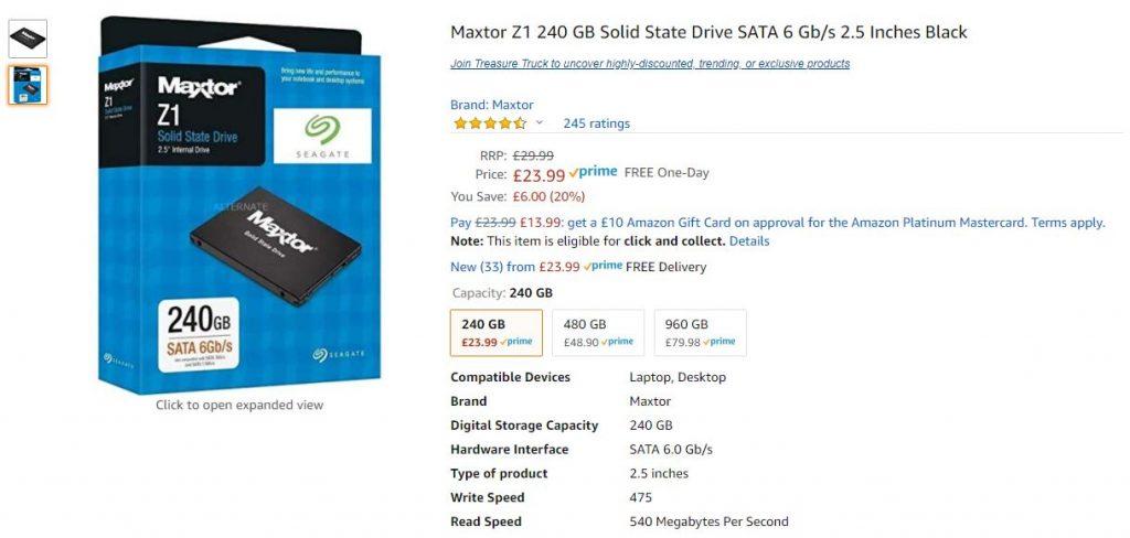 Maxtor Z1 240GB SSD Deal